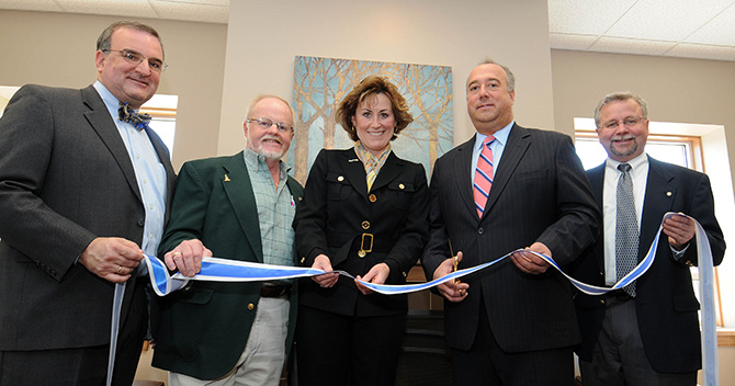 Left to Right: Centennial Senior Center Vice Chair Mark Rouvalis, Centennial Senior Center Facilities Chair Joe Kasper, Centennial Senior Center Executive Director Vivien Green, Mayor Jim Bouley and President of the Greater Concord Chamber of Commerce Tim Sink.